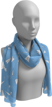 Load image into Gallery viewer, The Paper Planes Long Scarf in Blue-Long Scarf-Clash Patterns by Jennifer Akkermans