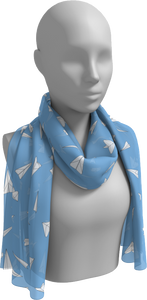 The Paper Planes Long Scarf in Blue-Long Scarf-Clash Patterns by Jennifer Akkermans