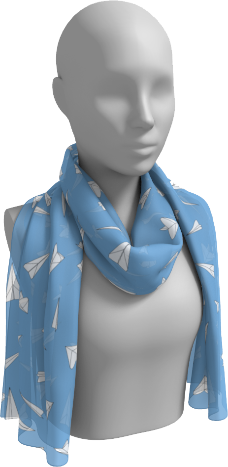 The Paper Planes Long Scarf in Blue