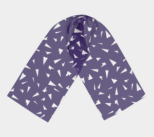 The Paper Planes Long Scarf in Purple-Clash Patterns
