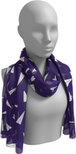 Load image into Gallery viewer, The Paper Planes Long Scarf in Purple-Long Scarf-Clash Patterns by Jennifer Akkermans