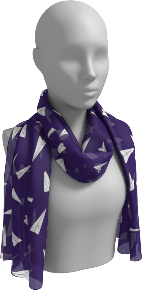 The Paper Planes Long Scarf in Purple-Long Scarf-Clash Patterns by Jennifer Akkermans