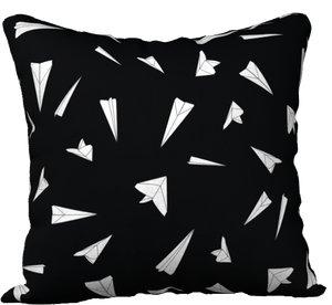 "The Paper Planes Reversible Pillow in Black-18"" x 18"" Pillow Case-Clash Patterns by Jennifer Akkermans"