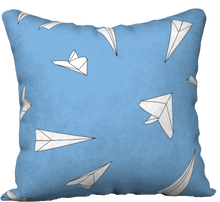 "Load image into Gallery viewer, The Paper Planes Reversible Pillow in Blue-18"" x 18"" Pillow Case-Clash Patterns by Jennifer Akkermans"