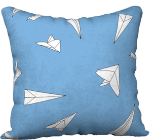 "The Paper Planes Reversible Pillow in Blue-18"" x 18"" Pillow Case-Clash Patterns by Jennifer Akkermans"