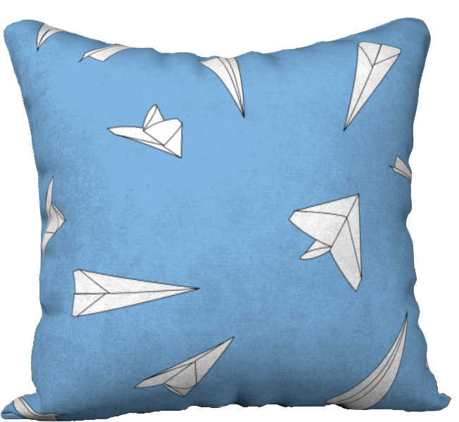 The Paper Planes Reversible Pillow in Blue-18