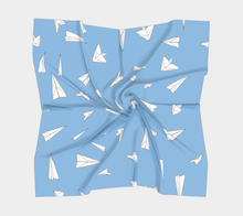 Load image into Gallery viewer, The Paper Planes Square Scarf in Blue-Clash Patterns