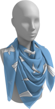 Load image into Gallery viewer, The Paper Planes Square Scarf in Blue-Square Scarf-Clash Patterns by Jennifer Akkermans