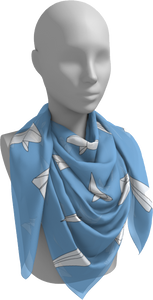 The Paper Planes Square Scarf in Blue-Square Scarf-Clash Patterns by Jennifer Akkermans