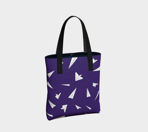 The Paper Planes Tote Bag in Purple-Clash Patterns