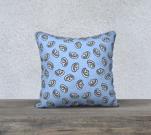 The Paula Reversible Pillow in Periwinkle-Clash Patterns