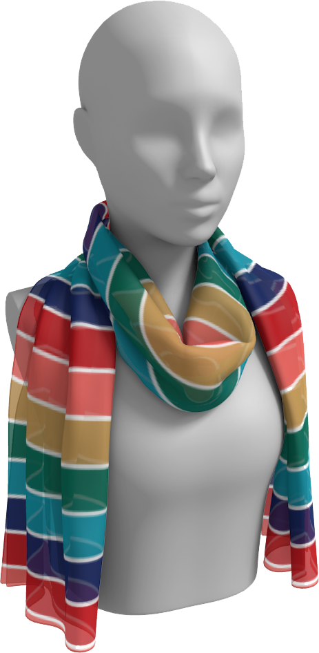 The Rainbow Long Scarf in Jewel Tones
