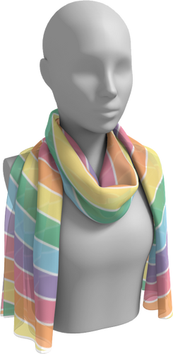 The Rainbow Long Scarf in Pastel-Long Scarf-Clash Patterns by Jennifer Akkermans