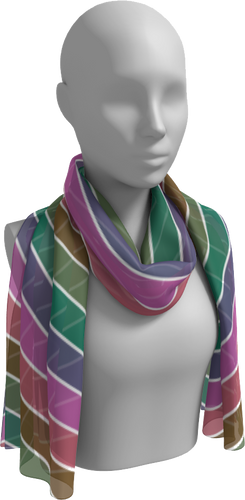 The Rainbow Long Scarf in Pink and Green-Long Scarf-Clash Patterns by Jennifer Akkermans