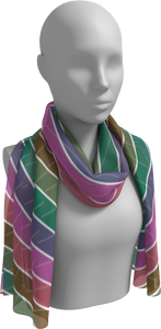 The Rainbow Long Scarf in Pink and Green
