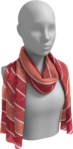 The Rainbow Long Scarf in Red-Long Scarf-Clash Patterns by Jennifer Akkermans