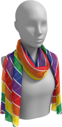 The Rainbow Long Scarf-Long Scarf-Clash Patterns by Jennifer Akkermans