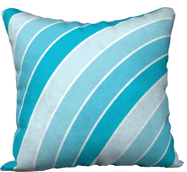 The Rainbow Pillow in Blue