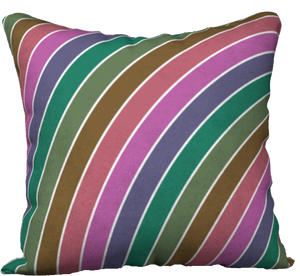 The Rainbow Pillow in Pinks and Greens