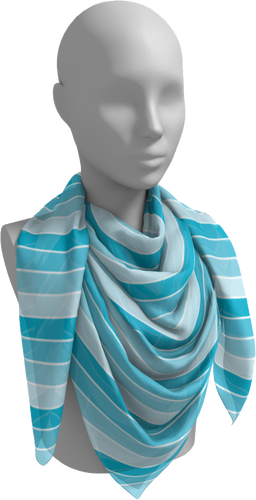The Rainbow Square Scarf in Blue-Square Scarf-Clash Patterns by Jennifer Akkermans