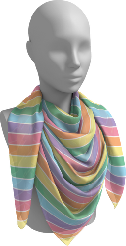 The Rainbow Square Scarf in Pastel-Square Scarf-Clash Patterns by Jennifer Akkermans