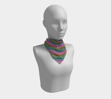 Load image into Gallery viewer, The Rainbow Square Scarf in Pinks and Greens