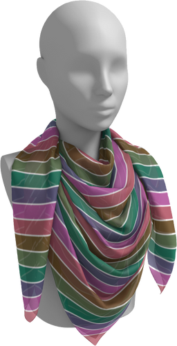 The Rainbow Square Scarf in Pinks and Greens-Square Scarf-Clash Patterns by Jennifer Akkermans