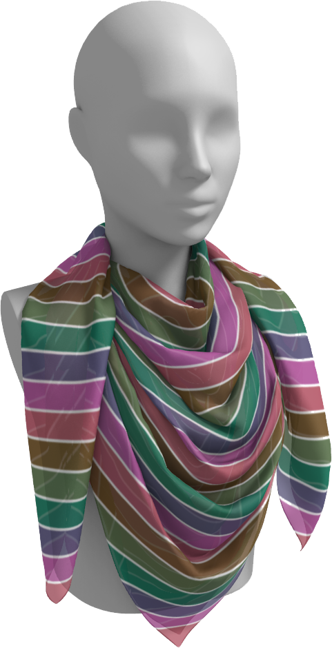 The Rainbow Square Scarf in Pinks and Greens