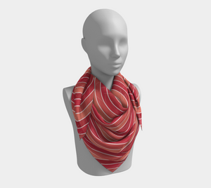 The Rainbow Square Scarf in Red