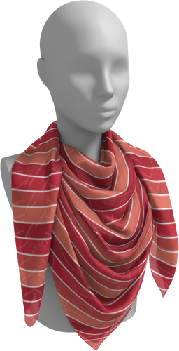The Rainbow Square Scarf in Red-Square Scarf-Clash Patterns by Jennifer Akkermans