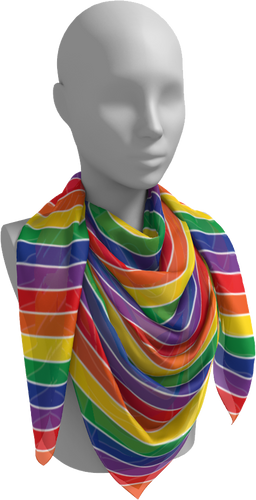 The Rainbow Square Scarf-Square Scarf-Clash Patterns by Jennifer Akkermans