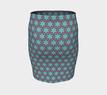 Load image into Gallery viewer, The Rita Fitted Skirt in Blue and Purple-Clash Patterns