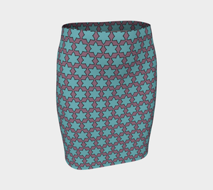 The Rita Fitted Skirt in Blue and Purple-Clash Patterns