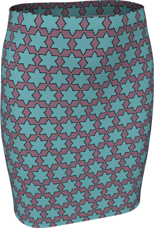 The Rita Fitted Skirt in Blue and Purple