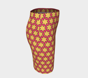 The Rita Fitted Skirt in Pink and Yellow-Clash Patterns