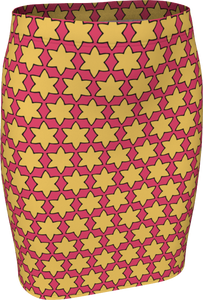 The Rita Fitted Skirt in Pink and Yellow