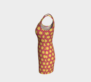 The Rita Flare Dress in Pink and Yellow-Clash Patterns