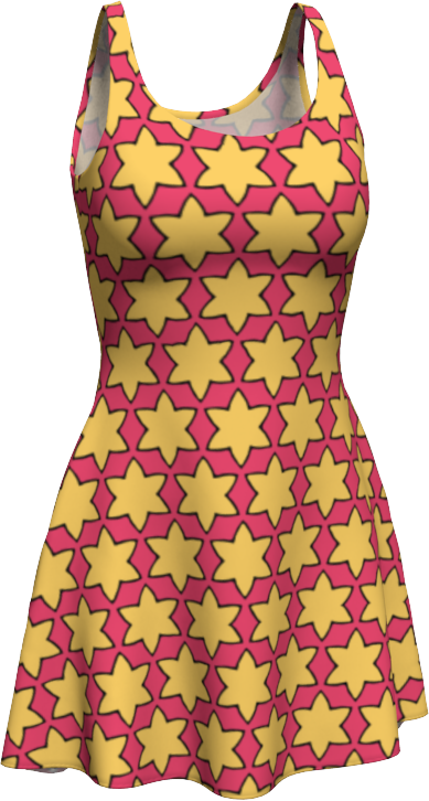 The Rita Flare Dress in Pink and Yellow