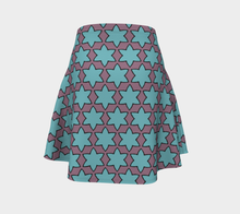 Load image into Gallery viewer, The Rita Flare Skirt in Blue and Purple-Clash Patterns