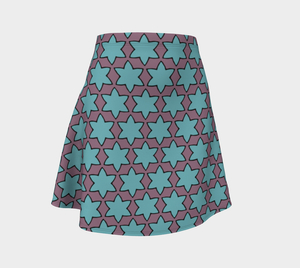 The Rita Flare Skirt in Blue and Purple-Clash Patterns