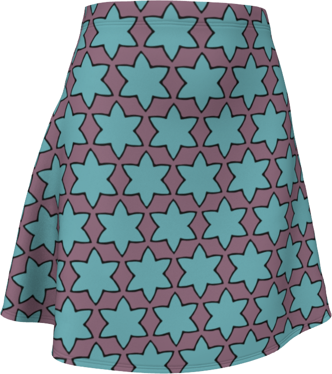 The Rita Flare Skirt in Blue and Purple