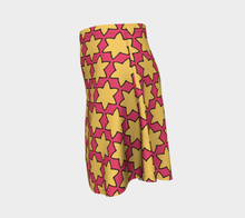 Load image into Gallery viewer, The Rita Flared Skirt in Pink and Yellow-Clash Patterns