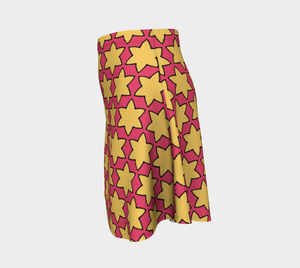 The Rita Flared Skirt in Pink and Yellow-Clash Patterns