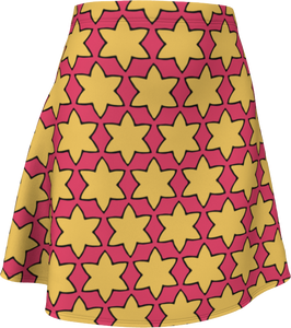 The Rita Flared Skirt in Pink and Yellow