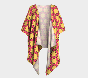 The Rita Kimono in Pink and Yellow-Clash Patterns
