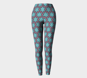 The Rita Leggings in Blue and Purple-Clash Patterns