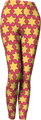 The Rita Leggings in Pink and Yellow-Leggings-Clash Patterns by Jennifer Akkermans