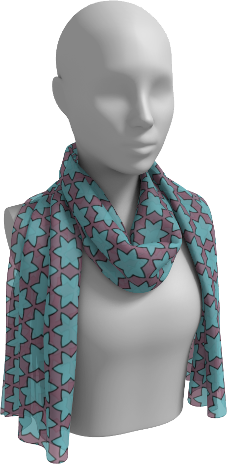 The Rita Long Scarf in Blue and Purple