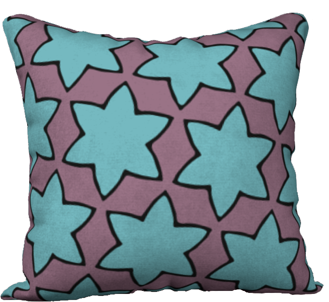 The Rita Reversible Pillow in Blue and Purple