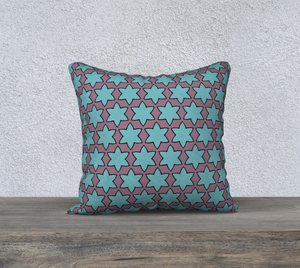 The Rita Reversible Pillow in Blue and Purple-Clash Patterns